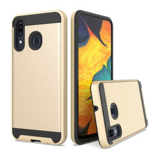 For Samsung Galaxy A20/A30/A50 Dual Layer Hybrid Brushed Armor Case Anti Shock Soft TPU&Hard Back Cover