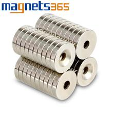 "OMO Magnetics 10pcs Magnets 15mm x 3mm 3/5"" x 1/25"" Hole 4mm Dsic Rare Earth Neodymium N38"