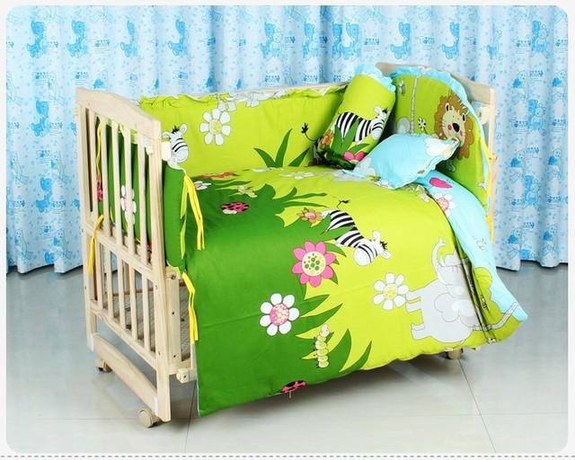 Promoción! 10 unids cuna camas y juego, ropa de cama, colchas finas, tope del pesebre ( bumpers + colchón + almohada + funda nórdica )