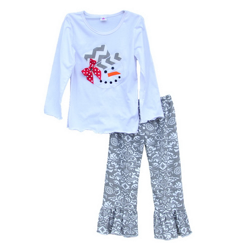High Quality Christmas Girls Winter Clothing Full Snowman Top Floral Ruffle Pants Boutique Remake Chidren Clothing Set C001