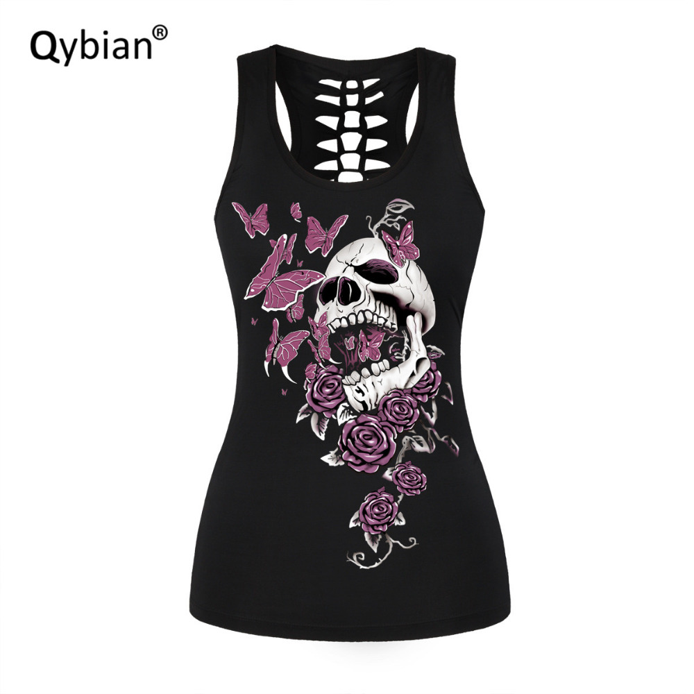 Women Sexy Tank Tops Vest Summer Casual Fashion Top Womens Roses skulls printed Back hollow out vest