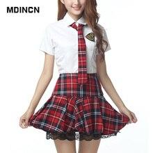 Школьная форма с короткими рукавами, костюм моряка для девочек, красная/тибетская синяя клетчатая юбка, Uniformes Japonais, корейские костюмы для девочек