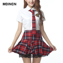 e8e4258cf8 Krótkie rękawy mundurek szkolny dziewczyna Sailor Dress Red tybetański  niebieski kratę spódnica Uniformes Japonais koreański kos.