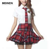 Manches courtes uniforme scolaire fille robe de marin rouge/tibétain bleu jupe à carreaux Uniformes Japonais Costumes coréens pour fille