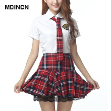 Short Sleeves School Uniform Girl Sailor Dress Red/Tibetan Blue Plaid Skirt Uniformes Japonais Korean Costumes For Girl