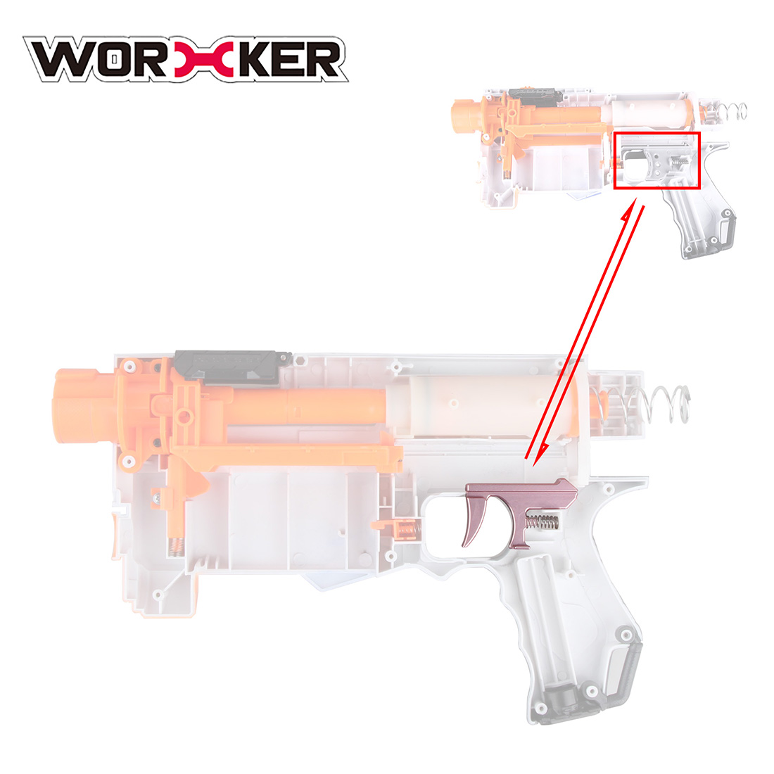 Worker STF Switch Releaser for Nerf Retaliator and Worker Prediction R Series Transmitter - Rose Gold