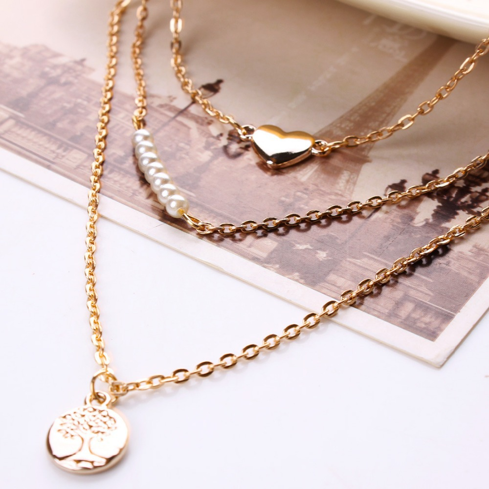 Fashion Multi Layer Necklace Heart Pendant Necklace Silver Gold Rose Gold