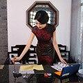 Новое Прибытие Мода Традиционный Китайский Dress Женщины Cheongsam Qipao мини Мандарин Воротник Размер S, M, L, XL, XXL F2016040310