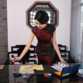New Arrival Fashion Traditional Chinese Dress Women Cheongsam Qipao mini Mandarin Collar Size S M L XL XXL F2016040310