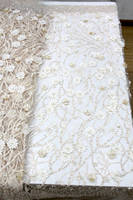 Top grade handwork floral embroidery sequins 3D lace fabric with rhinestones and crystals for wedding dress New arrival