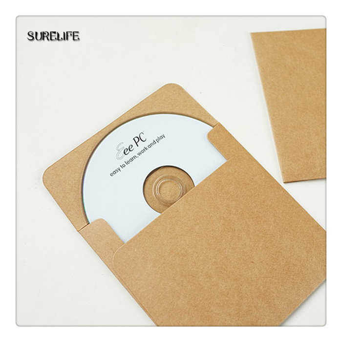 50Pcs Brown Vintage Kraft Paper CD Paper Envelopes DVD Papar Case Bag CD Paper Storage Bags Cover Holding 1CD Envelope