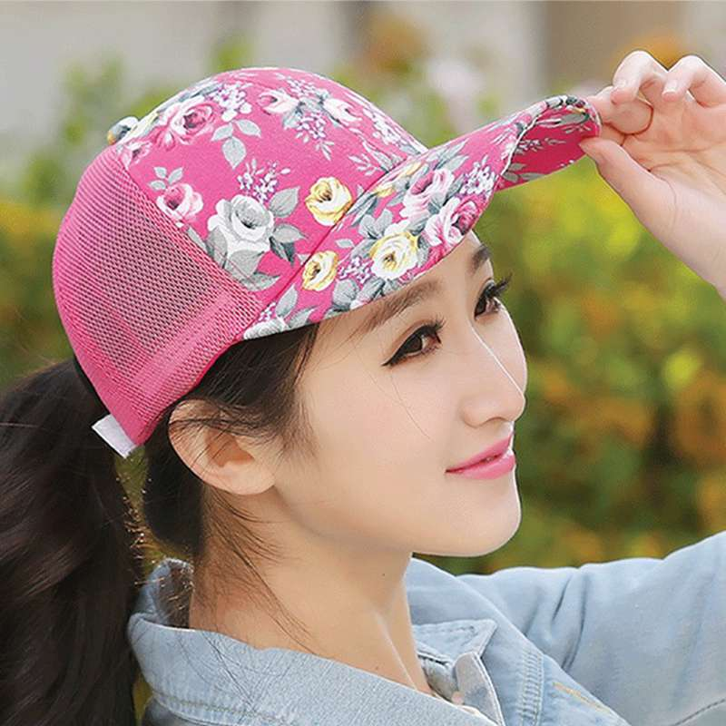 Newest women floral baseball hat spring and summer casual cap girl sun  snapback hats for sport adjustable summer cap leisure hat-in Baseball Caps  from ... 3cb2d06150f