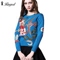 Newest Fashion 2017 Runway Women's Long Sleeve Sweater Luxury Crystal Beading Bird Embroidery Vintage Pullover Jumper Pull Femme
