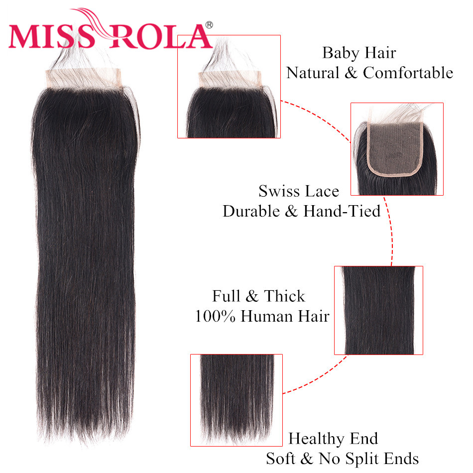 Fröken Rola Hair Pre-Colored Peruvian Hair 3 Bundles Straight 100% - Mänskligt hår (svart) - Foto 5