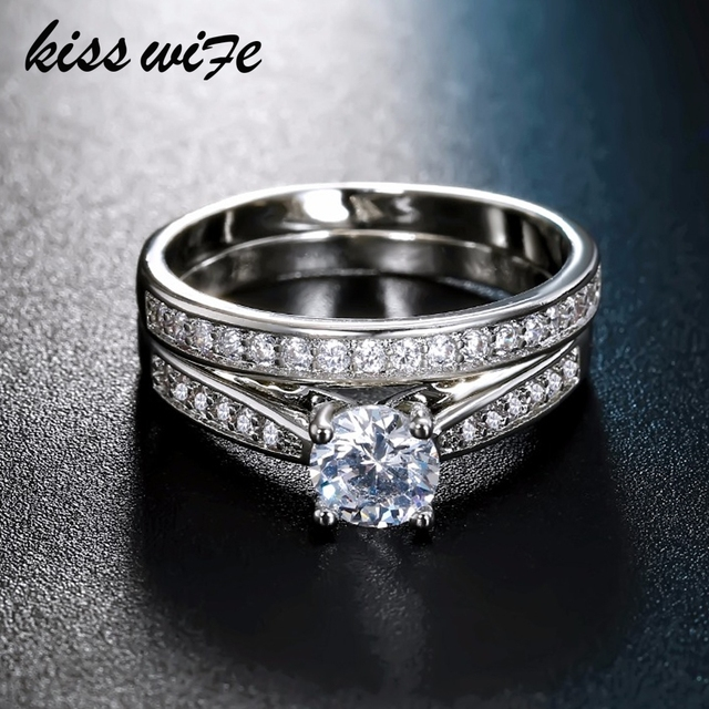 KISSWIFE 2pcs/lot Silver Double Rings Set Engagement Woman Cubic Zirconia Ring F