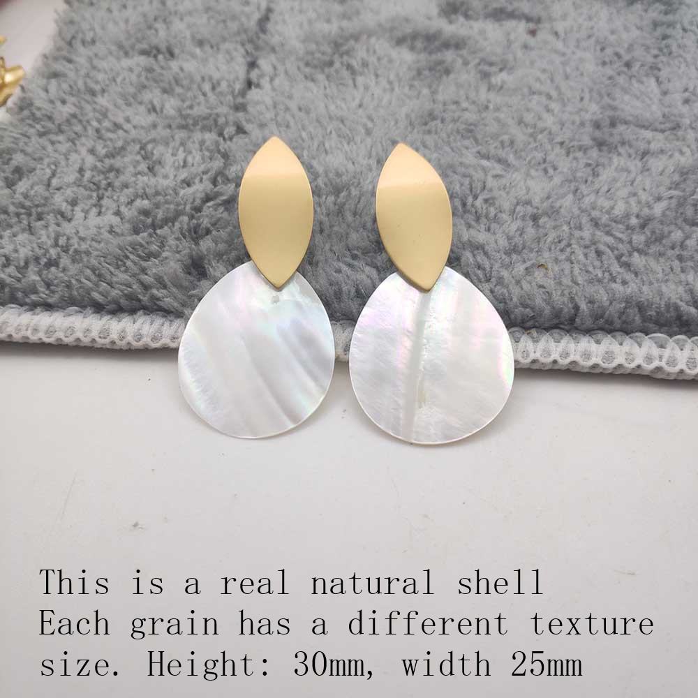 Fashion Wedding Jewelry Hanging Natural Shell Pearl Geometric Earrings High Quality Natural Shell Pendant Earrings for women P40 27