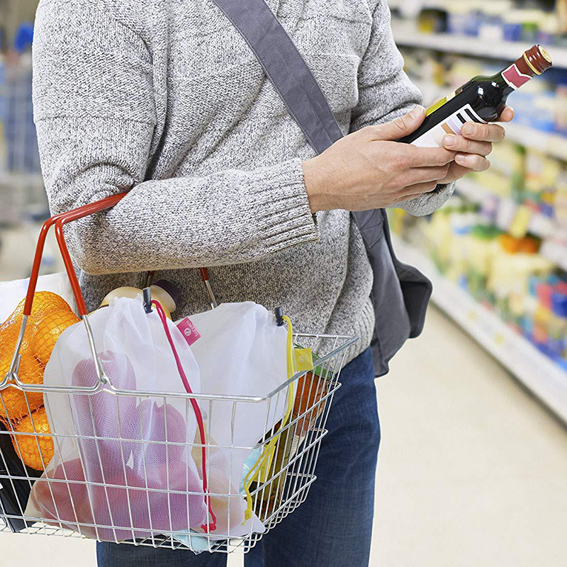 5 PCs Supermarket Mesh Cloth Bundle Pocket Reusable Drawstring Mesh Bags Fruit Vegetable Sacks Storage Shopping Bag Toys Pouch