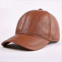 Genuine Cowhide Leather Caps Fashion Warm Baseball Caps Hats Luxury Design Adjustable Visors Cap With Earflap MZ35