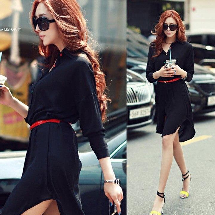 a60f38b9e9 2014 New Women Long Sleeve Chiffon Shirts Blouse Tops Lady Fashion Plus  Loose Irregular Maxi Long Blouse