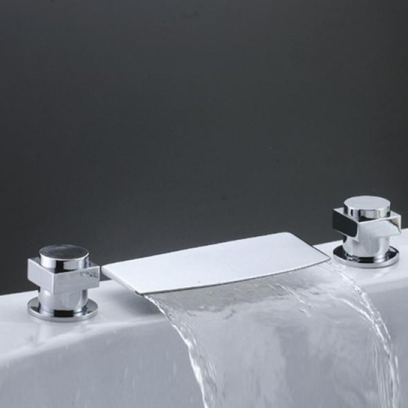 Newly Waterfall Widespread Spout Bathroom Tub Faucet Set Chrome Finish   Mixer Tap Deck Mounted