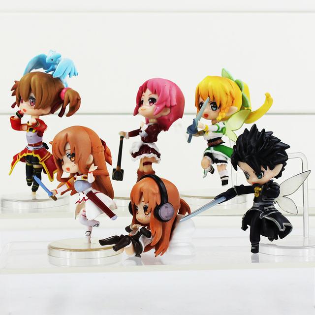 6Pcs 2.5″6CM Sword Art Online Fairy Dance Kirito Asuna Lefa