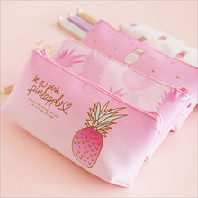 Cute pineapple PU Pencil Bag canvas Pencil Case Pen Bag Kawaii Stationery Office School Supplies Korean Stationery