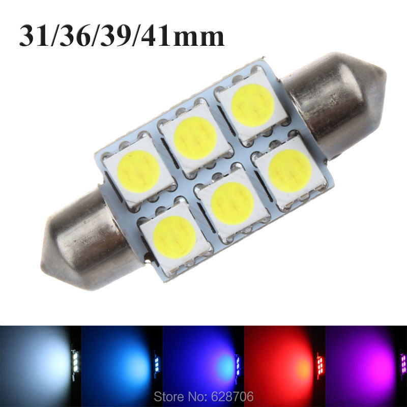 10pcs C5W Dome Festoon 5050 SMD 6 LED DE 3175 Car Auto Interior Door Lamp License Plate Bulb Light DC 12V White Crystal Blue Red