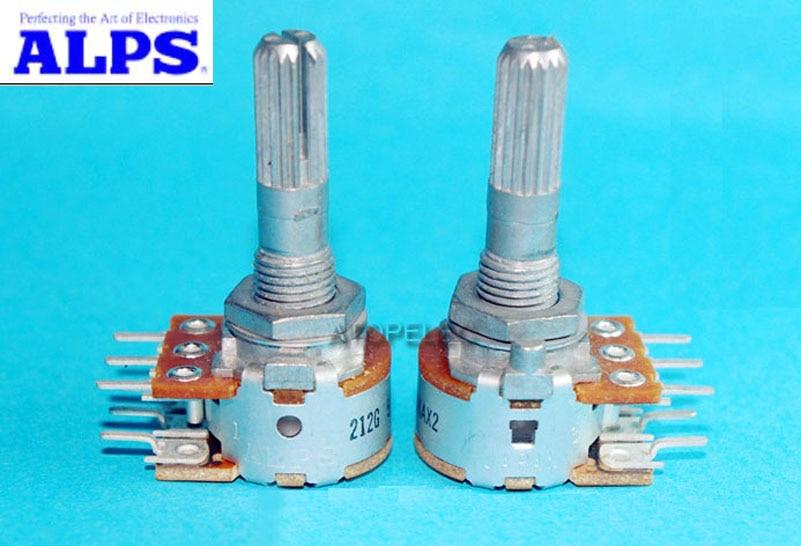 Стереопотенциометр, Япония ALPS RK16 50KAX2/100KAX2 громкость бревен 2 gang Dual 50K/100K вкатанный вал