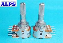 Japão alps rk16 50kax2/100kax2, potenciômetro estéreo 2-gang dual 50k/100k amassado eixo de eixo