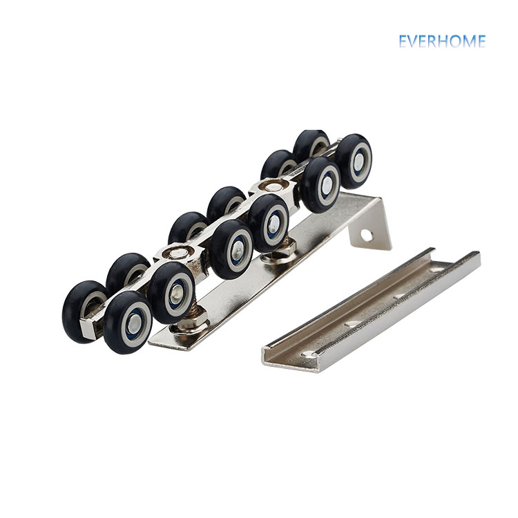Sliding door roller hanging pulley hanging mute rail wheel balcony sliding door 12 wheels bear 117 KGS,one pair per set sliding door roller set 8pcs stainless steel and nylon castors hanging door wheels for furniture cabinet roulettes coulissant