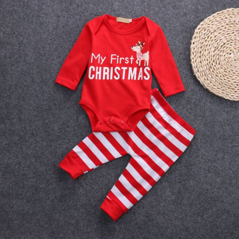 Baby My First Christmas Elk Print Romper Bodysuit +Striped Pants Outfit Set Cotton Long Sleeve Kawaii Cute Style my first animals