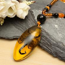 KiWarm Unique Natural Insects Amber Chinese Specialtie Scorpion Inclusion in Pendant Necklace Gemstone Ornament Crafts Gifts(China)