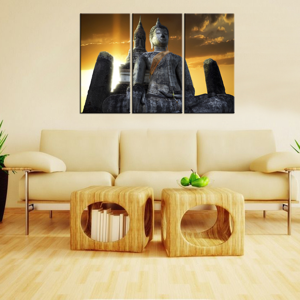 3 Piece Modern Painting Wall Art Buddha Statue Sunset Canvas Home ...