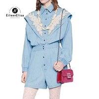 С длинным рукавом ползунки бисером для женщин весенний комбинезон Синий Комбинезоны Женская одежда