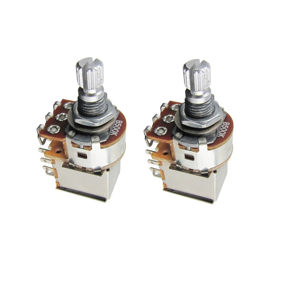 hight resolution of new 2pcs b500k push pull switch potentiometers pots linear taper pots short spilt shaft 15mm for electric guitar in guitar parts accessories from sports