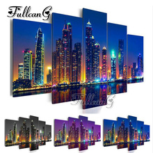 FULLCANG diy 5 pieces diamond painting city night view full square/round drill 5d cross stitch embroidery kits gift FC096