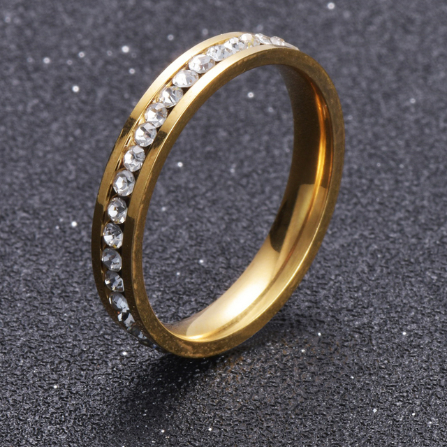 Gold Color Stainless Steel Ring CZ Crystal Titanium Steel Engagement Wedding Rin