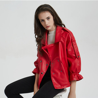 Womens Seven Flare Sleeve Leather Jackets Faux Soft PU Coats Loose Oversized Red Color Autumn &Winter Outwear Office Lady New
