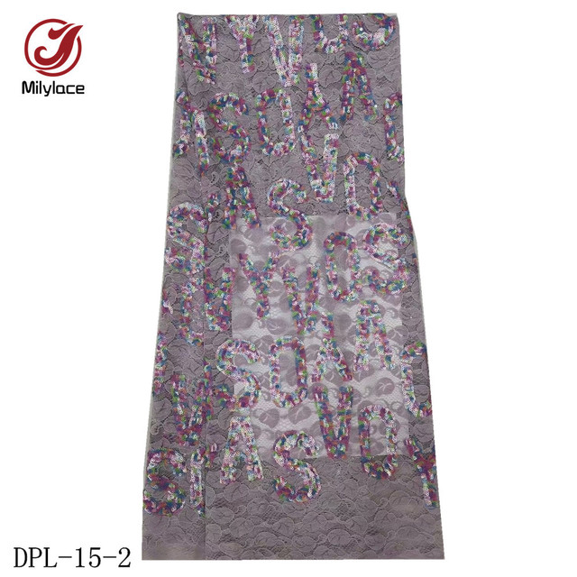 Wholesale African Lace Fabric Fashion Alphabet Embroidery with Colorful Sequins Tulle Lace French Net Lace for Dresses DPL-15