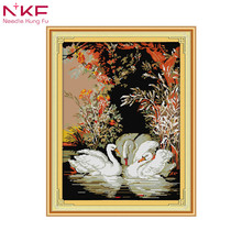 Swans in the lake DIY embroidery chinese cross stitch kits patterns printed canvas needlework set everything for handmade animal
