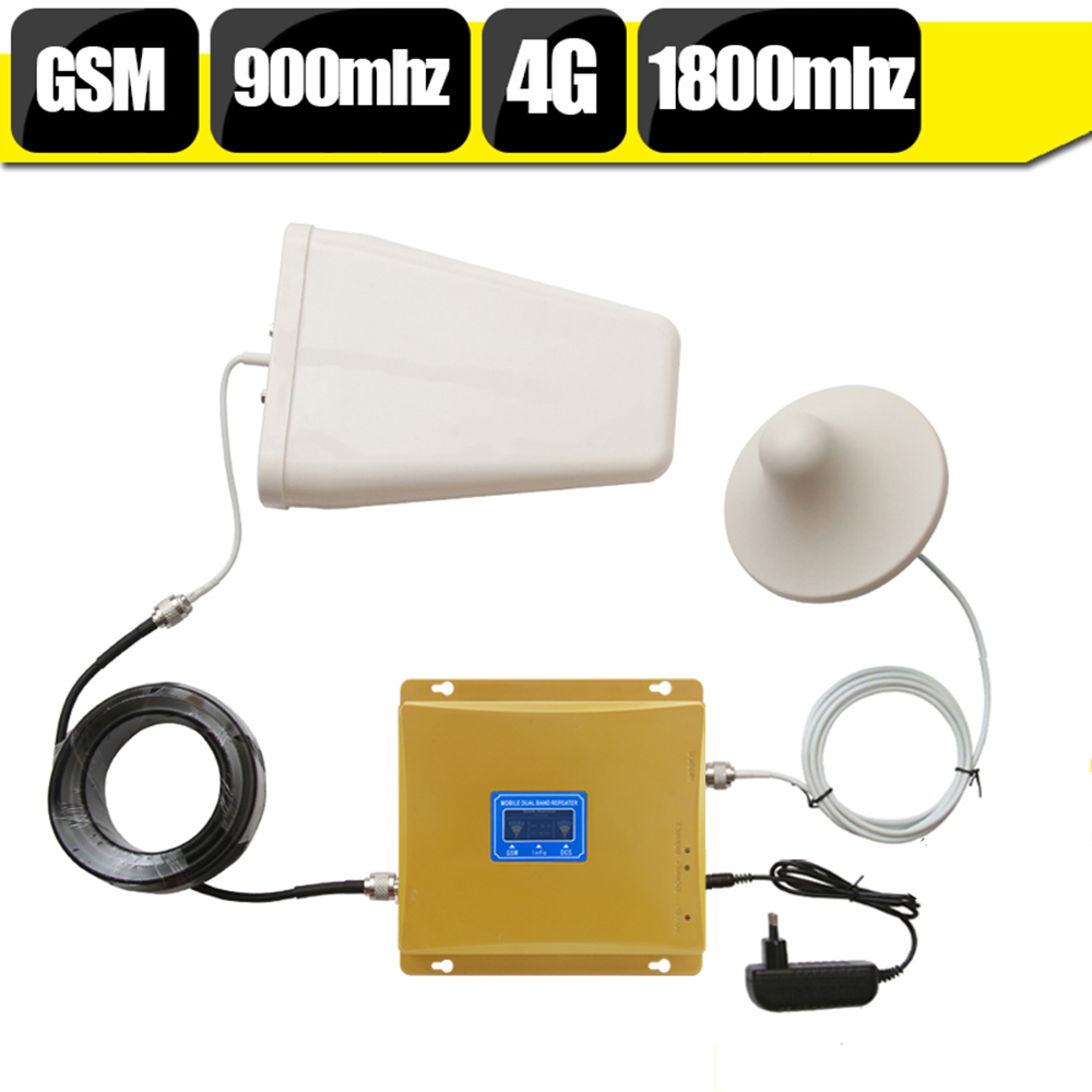GSM 900 4G LTE 1800 Dual Band Signal Booster GSM 900mhz 1800mhz Mobile Signal Repeater GSM 4G Cellular Amplifier For Cellphone