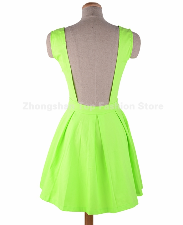 Women Neon Green Open Back Dresses Backless Sashes Party Short Mini Sexy  2015 Spring and Summer New Design Sundress Tunics Gowns-in Dresses from  Women s ... eca4944fdb39
