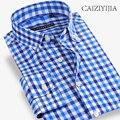 CAIZIYIJIA 100 Cotton Plaid Men Shirt Contrast Color Long Sleeve Casual Shirt Fashion Brand Clothing Button Down Shirt Slim Fit