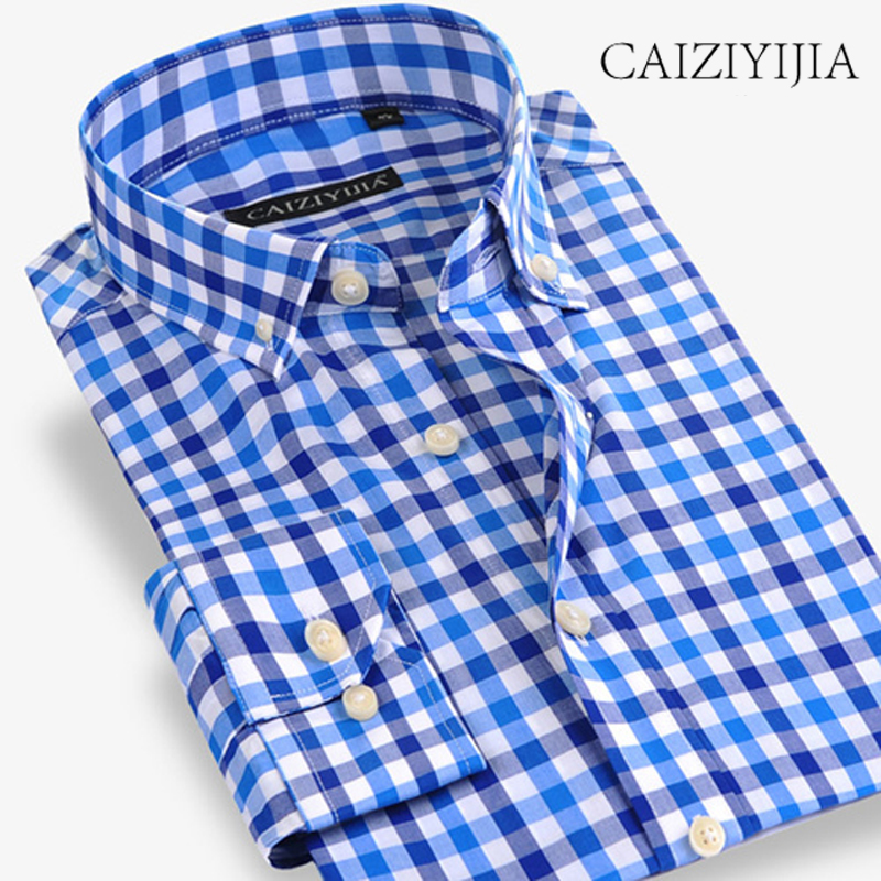 CAIZIYIJIA 100% Cotton Plaid Men Shirt Contrast Color Long Sleeve Casual Shirt Fashion Brand Clothing Button Down Shirt Slim Fit