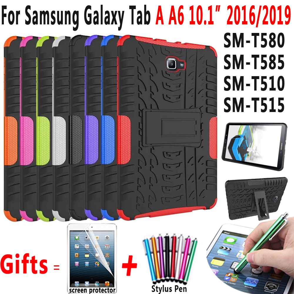Tire Silicon Cover For Samsung Galaxy Tab A A6 10.1 2016 2019 Case T580 T585 T510 T515 SM-T580 SM-T585 SM-T510 Funda Coque + Pen