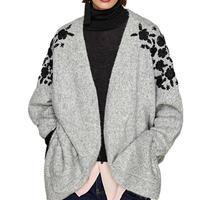 Embroidered Floral Pockets Women Grey Jersey Loose Korea V Neck Cashmere Sweater 2018 Spring Long Cardigan