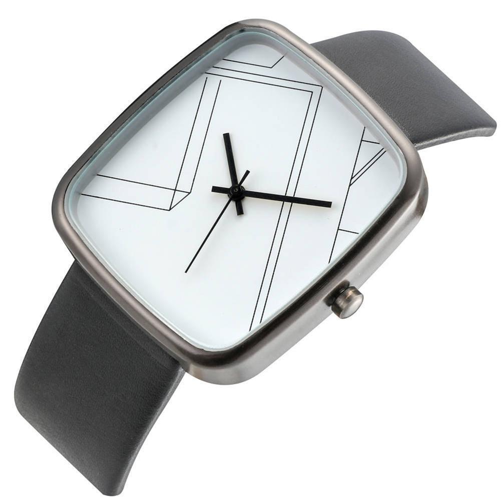 Wholesale Women Faux Leather Band Geometry Rectangular Dial Analog Quartz Wrist Watch