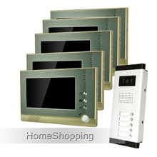 FREE SHIPPING New 7″ TFT Screen Video Door Phone Intercom System + 5 Monitors + 1 Doorbell Camera for 5 House Apartment Family