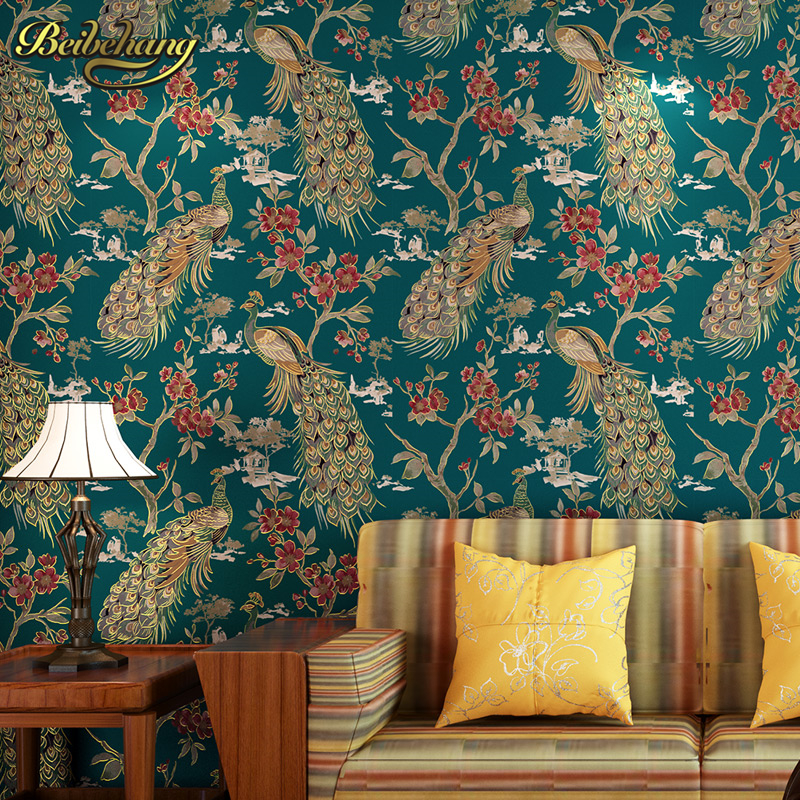 beibehang Luxury 3d Southeast Asia peacock wallpaper wallcovering bedroom background wall paper roll papel de parede para quarto beibehang papel de parede 3d drag wallpaper for walls decor embossed 3d wall paper roll bedroom living room sofa tv background