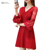 2018 New A Line Knitted Dress Women Lace Lantern Sleeves Midi Dresses Sexy V Neck High